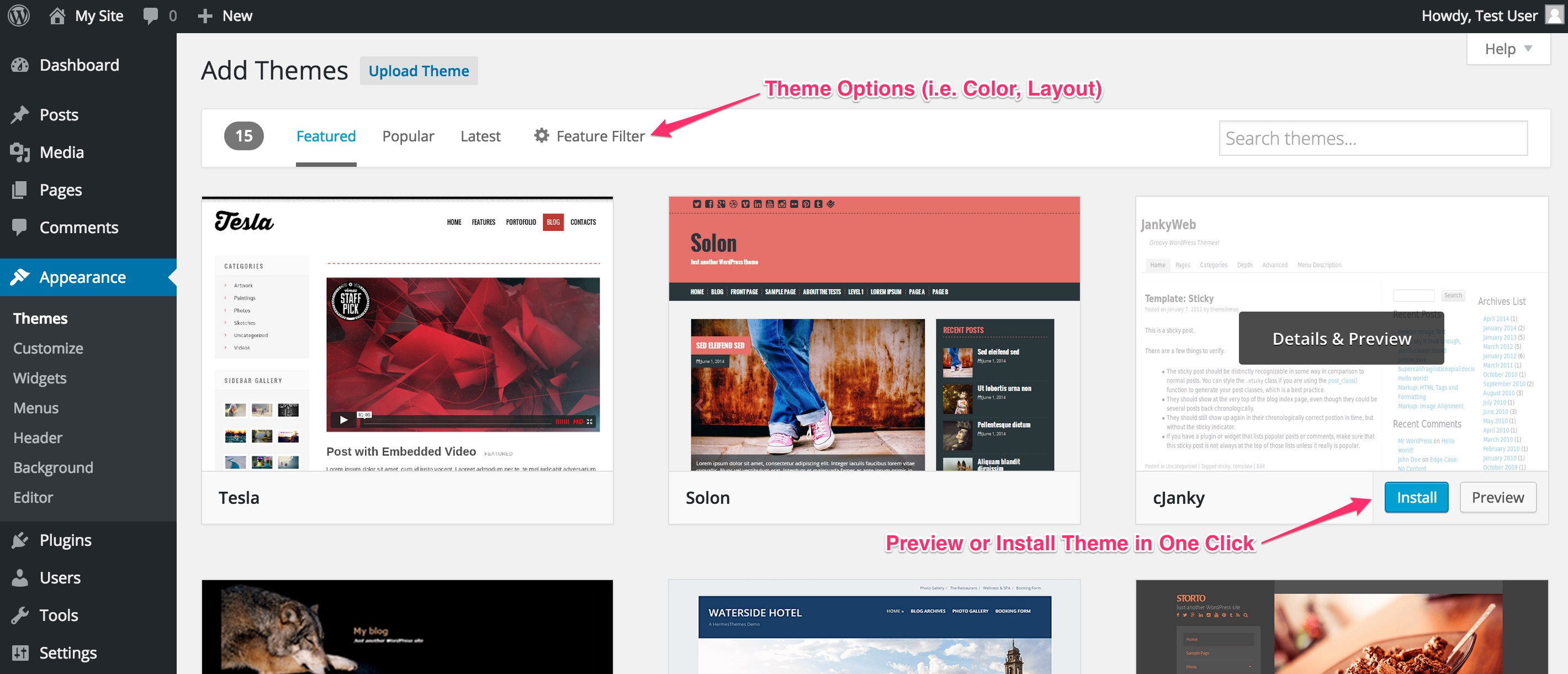 Adding a new theme in WordPress