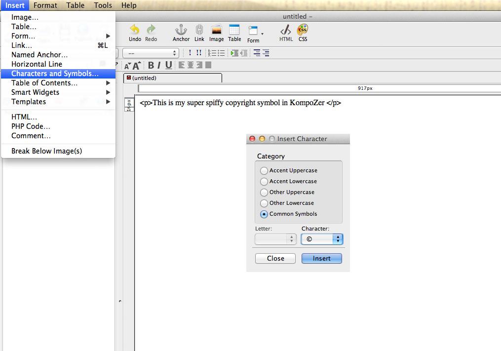 Add Copyright Symbol in KompoZer.