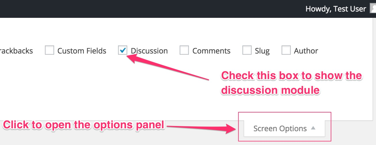 Displaying the Discussion Module from Screen Options