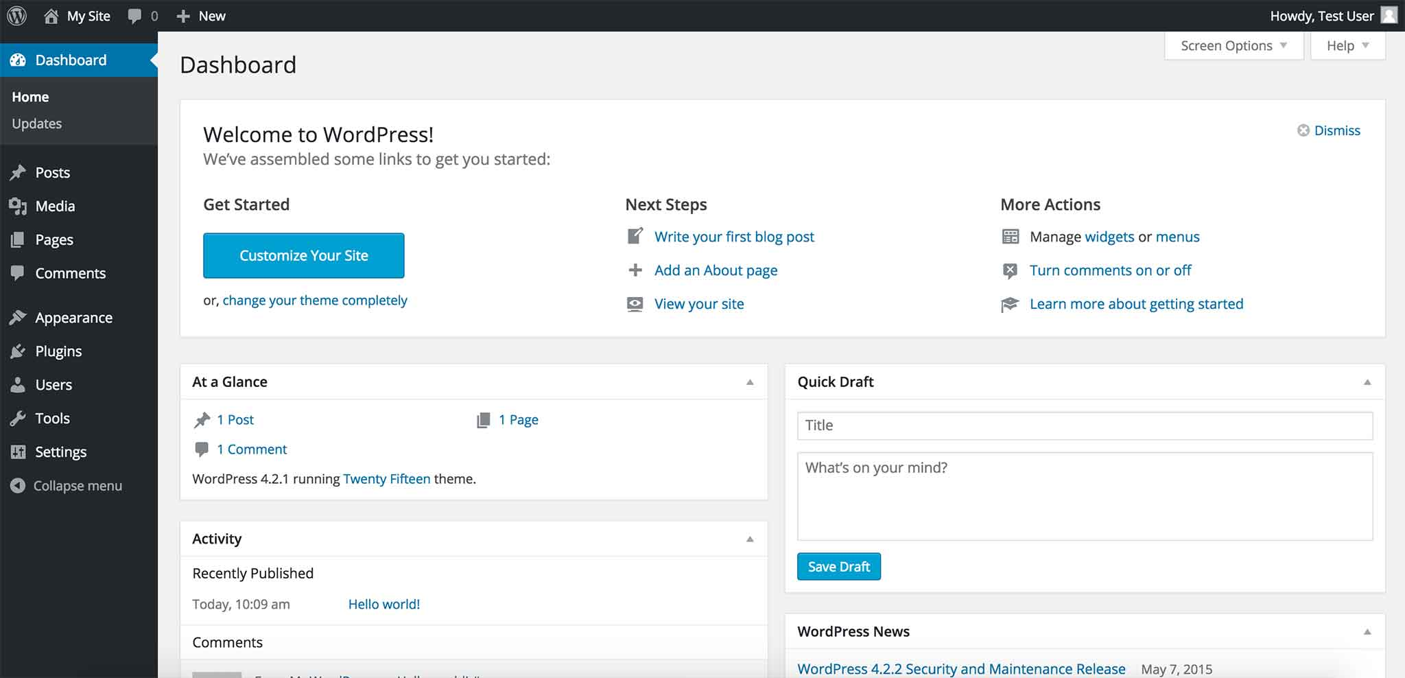 Example of WordPress Dashboard after installation