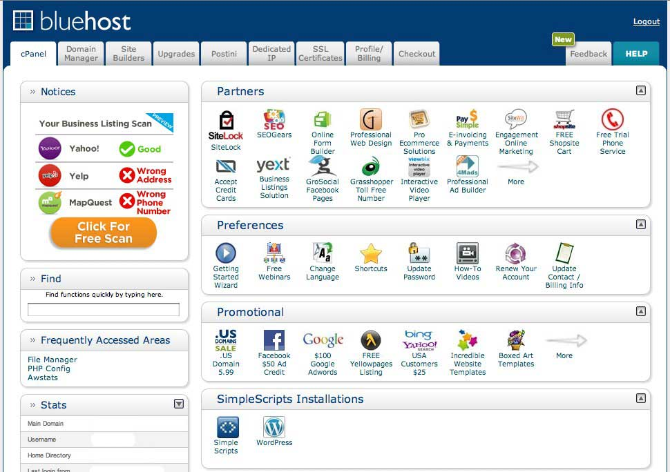 Old Bluehost cPanel design